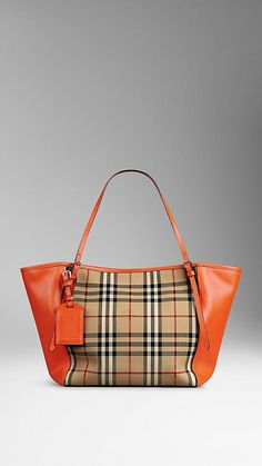 Honey/vibrant orange The Small Canter in Horseferry Check and Leather. Burberry.  Love! Love! Love!
