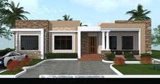 Flat Roof House Designs, Modern Bungalow House Design, Modern Small House Design, Modern House Facades, Modern House Plans, Small House Plans, Four Bedroom House Plans, Facade House, House Floor