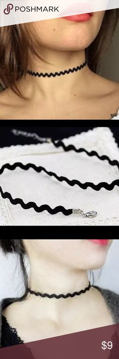 Zigzag style black choker Brand new in packaging zigzag black choker . NO TRADES Jewelry Necklaces