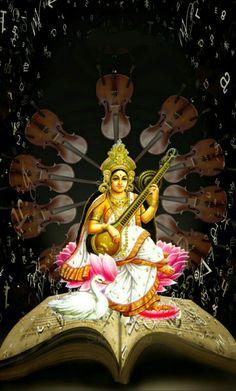 Jai Maa Saraswati, Durga, Worli Painting, Indian Goddess, Hindu Deities, Hindu Art, Buddhist Art, Gods And Goddesses, Lord Shiva
