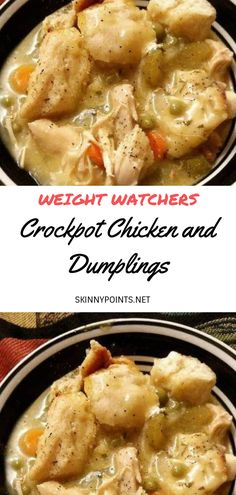 Crockpot Chicken and Dumplings INGREDIENTS : 4 boneless skinless chicken breast 1 can chicken broth 2 cans cream of chicken sliced carrots sliced celery can peas onion crumbled bacon parsley garlic powder salt and pepper 1 can flaky biscuits DIRECT Ww Recipes, Slow Cooker Recipes, Cooking Recipes, Healthy Recipes, Dinner Recipes, Skinny Recipes, Crockpot Meals, Crockpot Recepies, Cake Batter