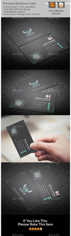 Personal Corporate Business Card Easy to change colors and text.FEATURES.3.5x2.0 (3.75¡± x 2.25¡± with bleed) 300 DPI CMYK Print Rea