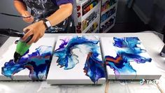 Acrylic Painting Tips, Flow Painting, Acrylic Pouring Art, Pour Painting, Diy Painting, Watercolor Tips, Beginner Painting, Diy Canvas Art, 3 Canvas Paintings