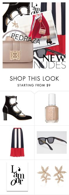 """New Nudes featuring pedrazalondon.com"" by cultofsharon ❤ liked on Polyvore featuring Jimmy Choo, Essie, RED Valentino, SS Print Shop and Jennifer Behr"