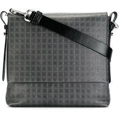 Salvatore Ferragamo Gancio printed crossbody bag (€465) ❤ liked on Polyvore featuring men's fashion, men's bags, men's messenger bags, grey and mens leather messenger bag