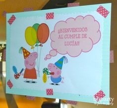 cartel de bienvenida Peppa Pig, Pig Party, Party Planning, Birthday Parties, Party Ideas, Kids, Education, Welcome Signs, Birthday Images