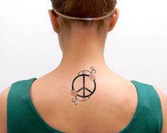 Peace Sign Symbol   water transfer tattoo handmade by @May Allen Allen la Faye on Etsy. (boho,hippy)