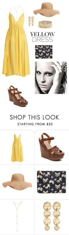 """yellow dress"" by annalynn2424 ❤ liked on Polyvore featuring Loup Charmant, Chinese Laundry, Old Navy, Banana Republic, Fragments, Kenneth Jay Lane and Rosantica"