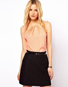 Image 1 of ASOS Sleeveless Top With Pleat Neck In Spot Print