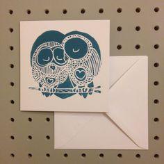 TEAL OWL LOVE. Hand Printed Linocut Greetings Card. by HollyBowerMakes on Etsy