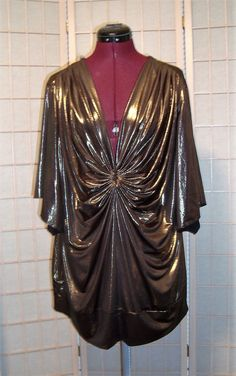 New Sexy Ashley Stewart Sz 26 Dark Gold Metallic Liquid Knit Ruched Tunic Top  #AshleyStewart #Tunic
