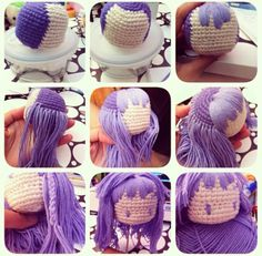 crochet amigurumi doll hair process.