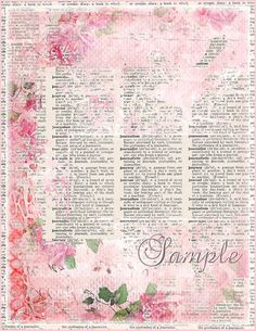 Floral Dictionary Background Papers Set Shabby Digital