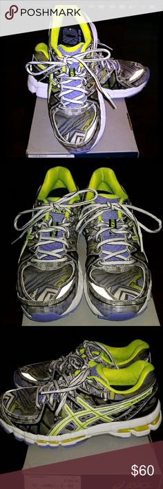 ASICS Gel running shoes Best pair of workout shoes! Worn only at the gym and in great condition. Just the right amount of flash! In the colors periwinkle, neon yellow, gray, white and black. Ready for a new home. Asics Shoes Athletic Shoes