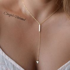 COWGIRL GYPSY NECKLACE Golden Triangle Tassel Chain Necklace
