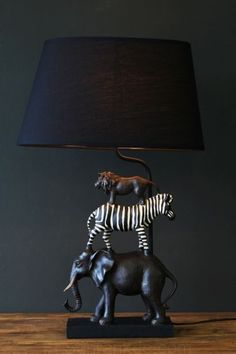 Animal Safari Table Lamp - Table Lamps - Lighting # DIY Home Decor vintage DIY Kits & Resources to Make Custom Light Fixtures and Lampshades Safari Room, Safari Living Rooms, Safari Home Decor, Safari Decorations, Retro Home Decor, Cheap Home Decor, Living Room Decor, Diy Home Decor On A Budget Living Room, Decor Room