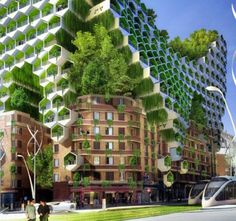 """The project uses space and materials in the most efficient way possible – the skins of the honeycomb-like towers also serve as solar energy generators that harvest sunlight and produce biofuel. """"Phylolights"""" produce both light and energy using wind turbines."""