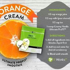 ProFit Recipe- Orange Cream Protein Shake! Mmm... Dreamsicle! Order your Profit protein at www.gettighealthywithjenn.com