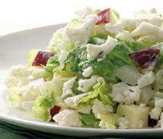 chopped cauliflower salad- 1 cup 54 cal: 5 tablespoons reduced-fat mayonnaise  2 tablespoons cider vinegar  1 small shallot, finely chopped  1/2 teaspoon caraway seeds, (optional)  1/4 teaspoon freshly ground pepper  3 cups chopped cauliflower florets  2 cups chopped heart of romaine  1 tart-sweet red apple, chopped
