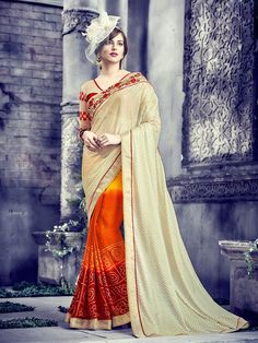 Buy Online Designer Printed Sarees, shari, Ethnic sarees, Beige, Orange and Red Color, Saree, sari, partywear, kitty party wear, ceremonial wear for women. We have large range of Designer Printed Georgette Sarees in our website with the best pricing and unique designs shipping to (UK, USA, India, Germany, UAE, Canada, Singapore, Australia, Mauritius, New Zealand) world wide.