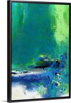 Blue and green abstract canvas in a black floating frame by Janet Bothne. Explore the power of color at GreatBIGCanvas.com.