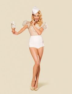 Pin-up...I like this girl.  She's covered but soooooo cute.  And I love nude and white...and ice cream!  Haha.