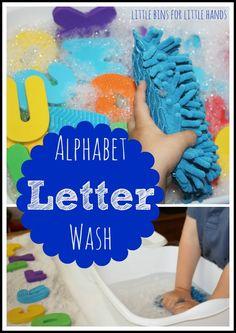 alphabet letter wash sensory activity