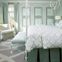 Tobi Fairley - bedrooms - mint, walls, ceiling, white, poster, bed, art gallery, blue, quatrefoil, pattern, duvet, shams, green, pleated, be...