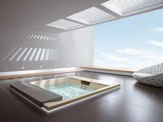 Jacuzzi with skylight Mini Pool, Saunas, Jacuzzi, Cool Swimming Pools, Lap Pools, Indoor Pools, Backyard Pools, Pool Decks, Pool Landscaping