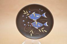 Ruscha Wand Teller - westdeutschen Keramik - Fische - Fat Lava - große 717/1 Wand-Fliese oder wallplate
