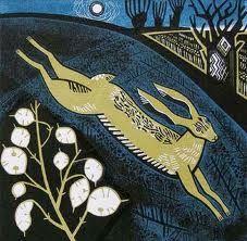"""Stag of the Stubble"" / hare - linocut - Clare Curtis, U. Hare & Tortoise, Lino Prints, Block Prints, Jack Rabbit, Illustration Art, Illustrations, Painting & Drawing, Flower Art, Printmaking"