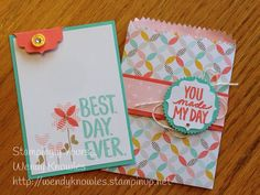 "Card in a bag. ""Best Day Ever"", Mini Treat Bag Dies, Bracket Punch, Best Year… Cool Cards, Diy Cards, Hand Stamped Cards, Card Sketches, Treat Bags, Paper Cards, Card Tags, Flower Cards, Homemade Cards"