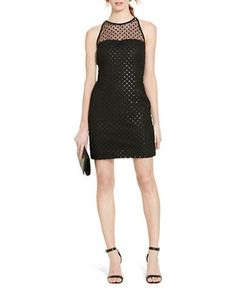 Lustrous sequins add textural embellishment to the lace overlay of this chic dress. Lauren Ralph Lauren