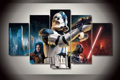 Star Wars Movie Canvas With Frame - free shipping worldwide