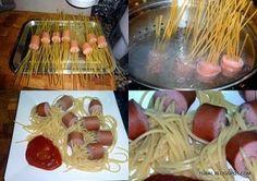 comidas para niños espaguetis con salchichas y tomate