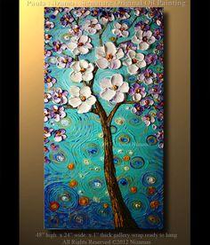 "Modern Abstract 48"" x 24"" Oil Painting Modern Palette Knife Oil Cherry Blossom Tree Impasto Landscape by Paula Nizamas. $380.00, via Etsy."