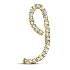 14k Yellow Gold On 925 Sterling Silver Round Cut White Diamond I Initial pendant #adorablejewelry #IInitalPendant