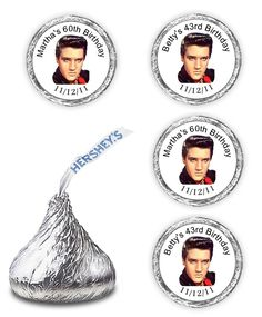 108 ELVIS PRESLEY BIRTHDAY HERSHEY KISSES PARTY FAVORS CANDY DECALS STICKERS  #Unbranded #labelscanbepersonalizedforANYOCCASION