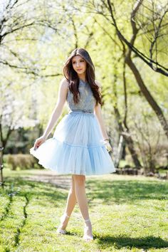 Pastel Blue Tulle And Lace Outfit Idea