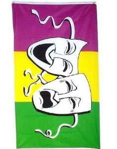 Comedy and Tragedy 3ft x 5ft poly Mardis Gras Theater Flag by Other Flags. $5.59. 3 Foot by 5 Foot, Indoor-Outdoor, Lightweight Polyester Flag with Sharp Vivd Colors. Express Domestic Shipping is OVERNITE 98% of the time, otherwise 2-day.. FAST SHIPPER: Ships in 1 Business Day; usually the Same Day if pmnt clears by noon CST. Express International Shipping is Global Express Mail (2-3 days). 2 Metal Grommets For Eash Mounting with Canvas Hem for long lasting strength. 3...
