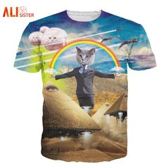 Alisister 2017 yeni 3d cat t gömlek baskılı hayvan t-shirt kadın erkekler komik clothing harajuku tee gömlek casual unisex 3d t gömlek
