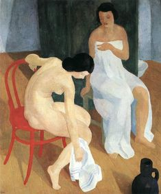 The Athenaeum - Bathing in the Morning (Karoly Patko - ) A4 Poster, Poster Prints, Purple Garden, Adam And Eve, Vintage Artwork, Henri Matisse, Life Drawing, Figurative Art, Art Reproductions