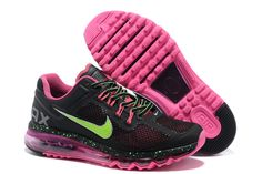 Womens Nike Air Max 2013 Black Electric Green Fireberry Shoes