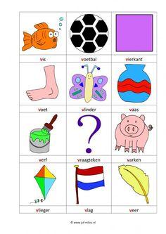 Werkbladen - taal - letters leren ~ Juf Milou Letter W, Beginning Sounds, School Posters, Preschool Worksheets, Primary School, Spelling, Kids Rugs, Activities, Afrikaans