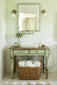 vasque salle de bain campagne vert ancien