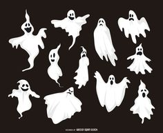 Set of 11 ghost illustrations featuring ghosts with different expressions and…