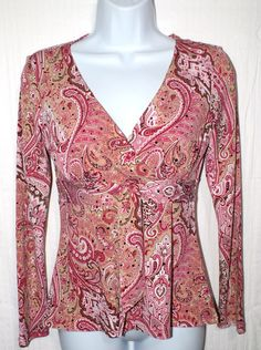 INC International Concepts Paisley Pink Women's Top Blouse Size P #INCInternationalConcepts #Blouse #Casual