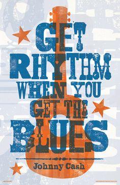 Johnny Cash  Get Rhythm  Lyric Poster 11 x 17 by RedRobotCreative Letterpress Hatch Show Style