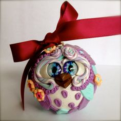 Violet  Polymer Clay Owl Ornament w/ Ribbon by TheNakedPeacock, $14.95
