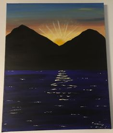 Sunset Seascape Acrylic Painting of a sunsetting behind mountains with a seascape on a 16x20 stretched canvas